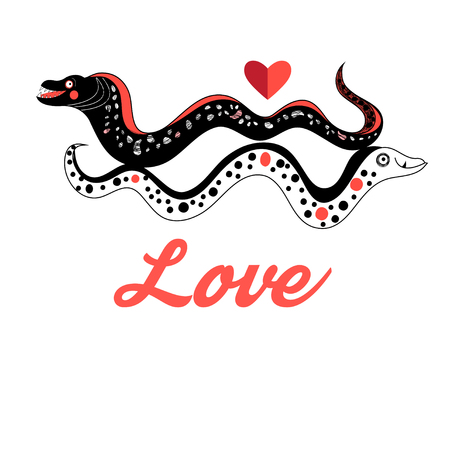 moray: Funny graphic love Moray on white background