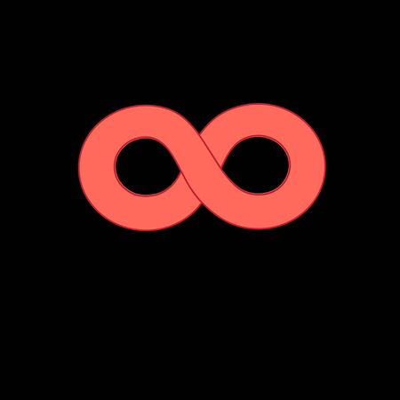 infinity sign: Graphic red infinity sign on a black background