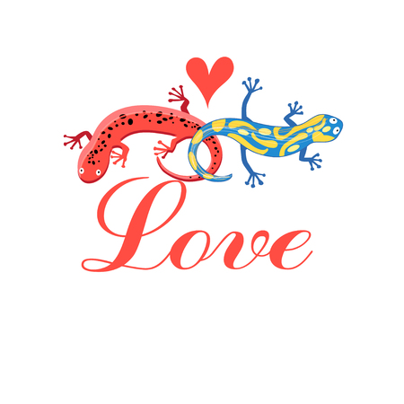 an example: Graphic beautiful lovers salamanders on a white background