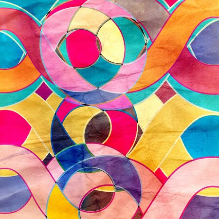 Abstract watercolor retro bright wavy background with different elements Stock Photo