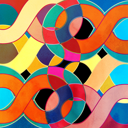 reiteration: Abstract watercolor retro bright wavy background with different elements Stock Photo