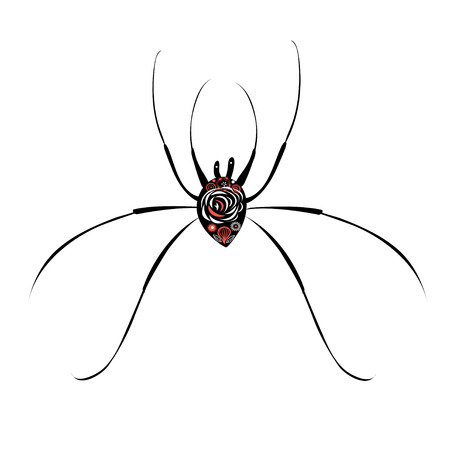Beautiful illustration of a big spider on white background Çizim