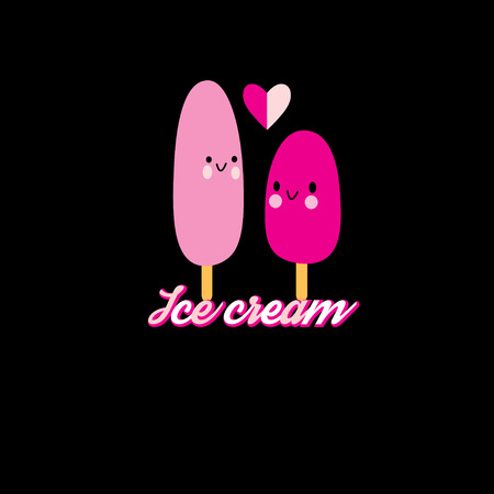 funny love: Funny love with ice cream on a dark background
