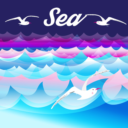 seabird: Bright beautiful nature sea  background with sea gulls .
