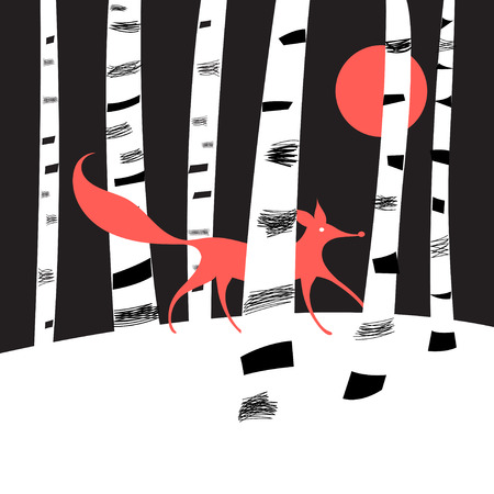 creation: Background with birch trees and red Fox in the woods