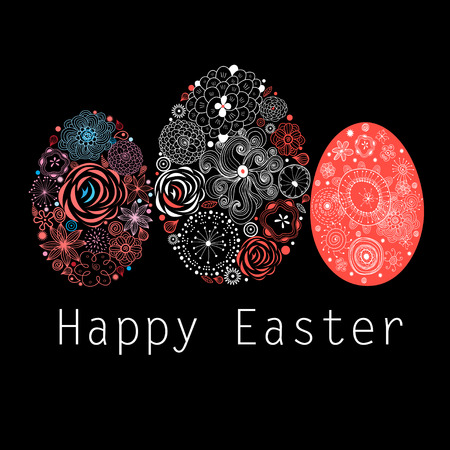 interesting: Interesting ornamental Easter eggs on a black background