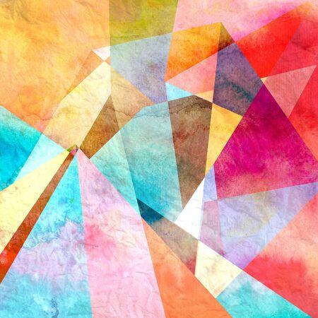 Abstracte kleurrijke aquarel achtergrond met verschillende geometrische elementen