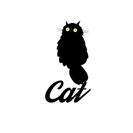 superstition: Graphic symbol of a black cat on a white background