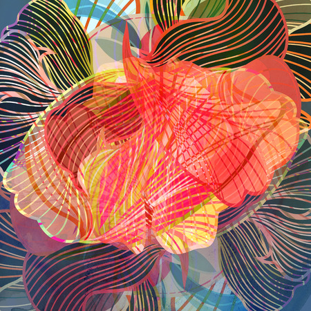 reiteration: Watercolor abstract colorful background with fantastic elements. Background for design template.