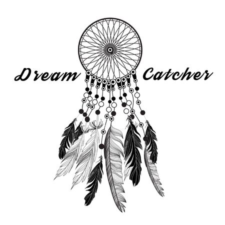 popular tales: Dreamcatcher ethnic graphics on a white background