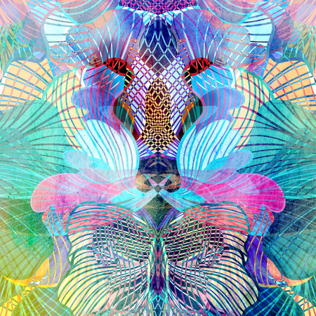 reiteration: Watercolor abstract background with different elements of the fantastic Stock Photo