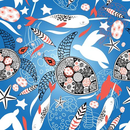 wonders: Seamless pattern with sea turtles and whales on a blue background