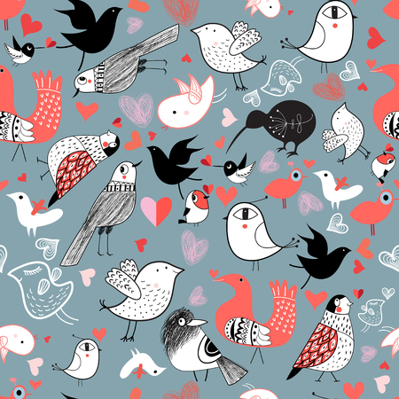 miracles: Seamless graphic pattern of different birds on a blue background Illustration