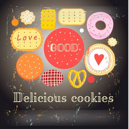 foodstuffs: Bright background with different cookies on a dark background