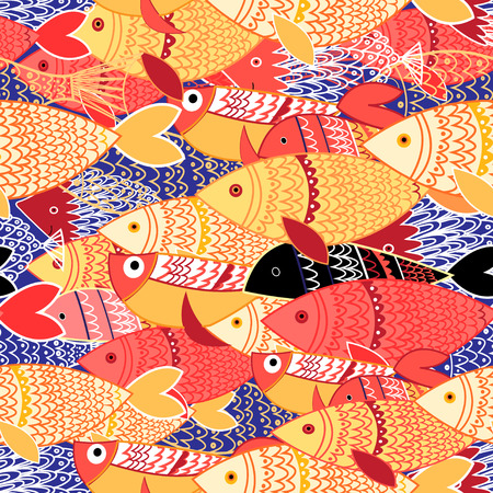 colorful fish: Seamless pattern of bright colorful fish on blue