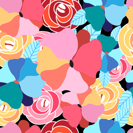 is interesting: Abstract seamless graphic pattern of different interesting flowers