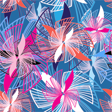 interesting: Abstract seamless graphic pattern of different interesting flowers