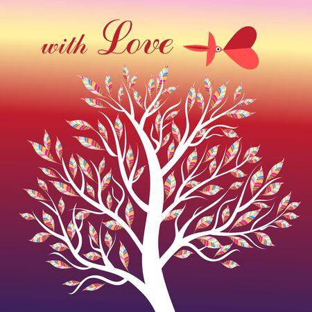 love tree: Card with tree and bird in love on a bright background