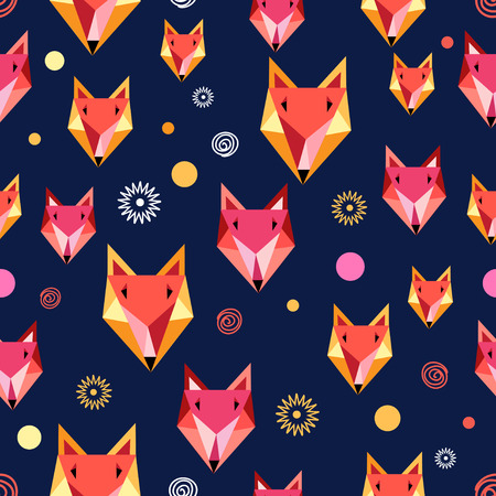 head i: Seamless pattern with fox portrait on a dark background