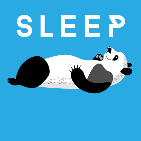spot the difference: Fun card with a panda sleeping on a blue background