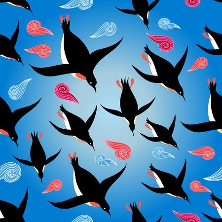 Vector illustration Beau modèle avec des pingouins nageant dans la mer