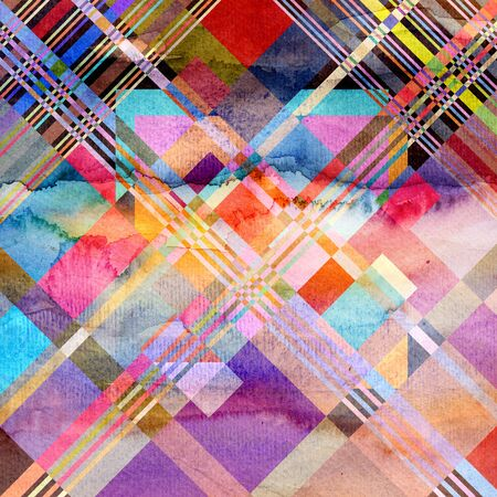 new ages: Abstract colorful watercolor background with different geometric elements
