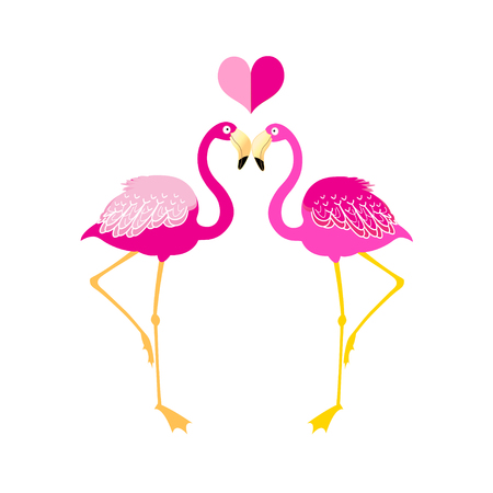 ancestry: Graphics flamingo lovers on a white background