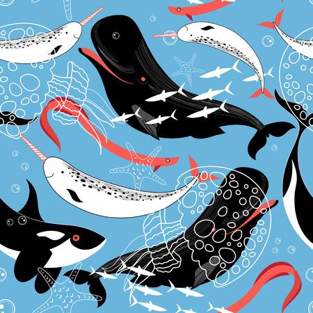 그래픽 패턴 바다 고래 및 파란색 배경에 물고기