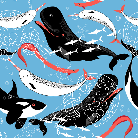 Graphic pattern sea whales and fish on a blue background Ilustração