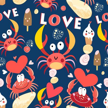Naadloos heel patroon met krabben in liefde op een donkere achtergrond
