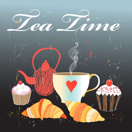 foodstuffs: Graphics with tea and croissants on a dark background retro