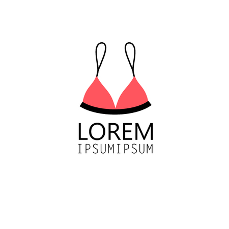 bikini top: graphic symbol bra swimsuit on a white background Illustration