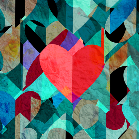 reiteration: Abstract vintage watercolor heart Happy Valentines Day