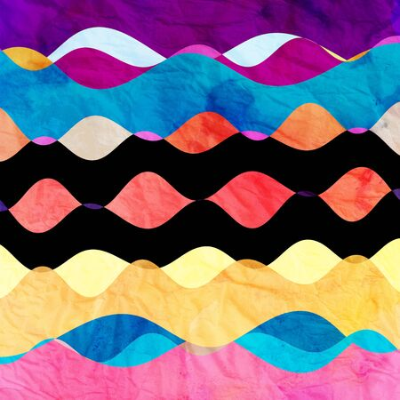 reiteration: Retro Bright watercolor background with different abstract elements
