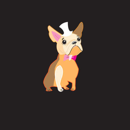 graphic arts: Funny vector dog bulldog on a dark background