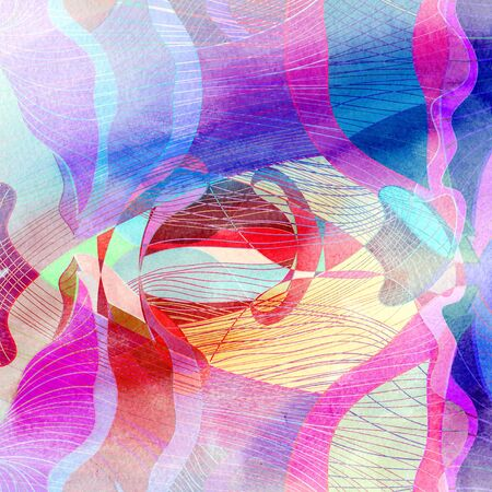 reiteration: Abstract watercolor background with various colored wavy elements