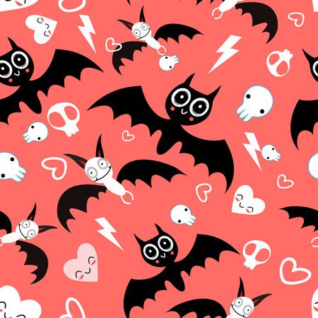 Seamless beautiful pattern of the fun Halloween bats