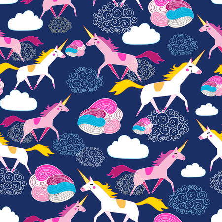 Seamless beautiful pattern Unicorns on a blue background