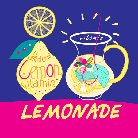 hangout: Beautiful vector illustration with carafes of delicious drink lemonade