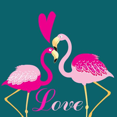 liking: Beautiful vector illustration of love birds flamingos Illustration