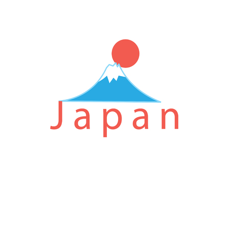 mount fuji: Beautiful vector icon with the word Japan and Mount Fuji Illustration