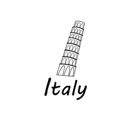 leaning tower: Graphic sign of Leaning Tower of Pisa on a white background Illustration