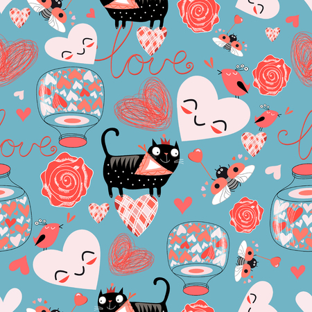 nose job: Seamless bright pattern with lovers cats and hearts on a blue background