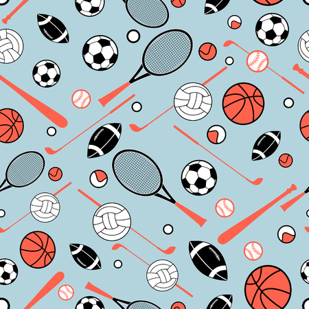 conditionally: color graphic pattern sporting goods on a blue background Illustration