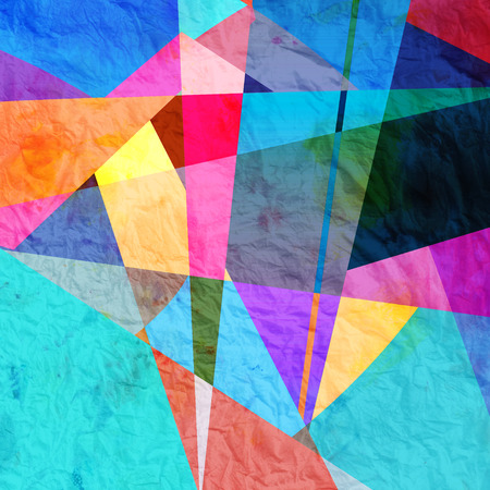 new age: Abstract colorful watercolor background with different geometric elements