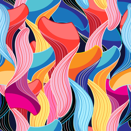 interesting: Abstract seamless graphic pattern of different interesting waves