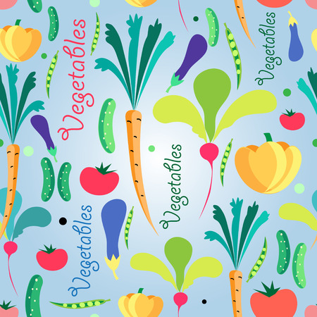 foodstuff: Bright colored seamless pattern vegetables. Vector illustration of a template for the design Illustration