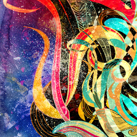 reiteration: Abstract colorful watercolor background with wavy elements