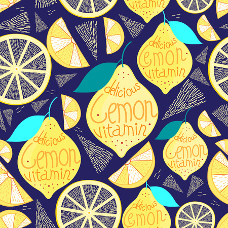 reproduce: Bright pattern of lemons and cloves on a dark blue background Illustration