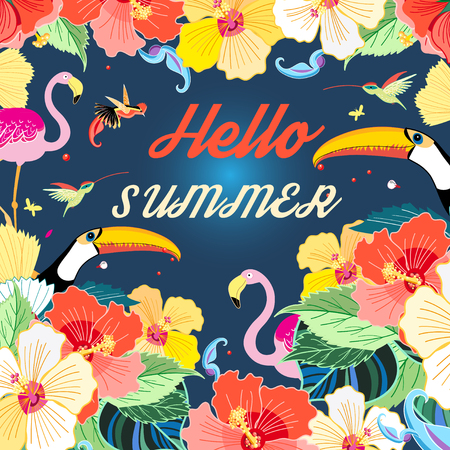 kitchen garden: Bright summer background with flowers and exotic birds Illustration